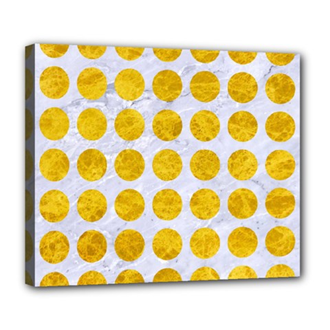 Circles1 White Marble & Yellow Marble (r) Deluxe Canvas 24  X 20   by trendistuff