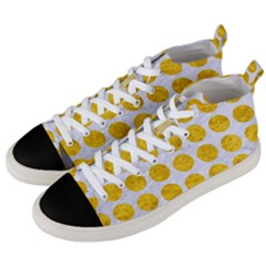 Circles1 White Marble & Yellow Marble (r) Men s Mid Top Canvas Sneakers by trendistuff