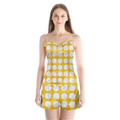 Circles1 White Marble & Yellow Marble Satin Pajamas Set