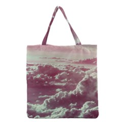 In The Clouds Pink Grocery Tote Bag by snowwhitegirl
