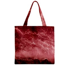 Red  Ocean Splash Zipper Grocery Tote Bag by snowwhitegirl