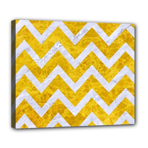 Chevron9 White Marble & Yellow Marble Deluxe Canvas 24  X 20   by trendistuff