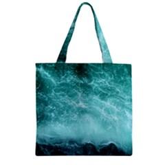 Green Ocean Splash Zipper Grocery Tote Bag by snowwhitegirl