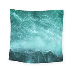 Green Ocean Splash Square Tapestry (small) by snowwhitegirl