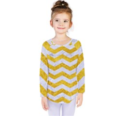 Chevron3 White Marble & Yellow Marble Kids  Long Sleeve Tee