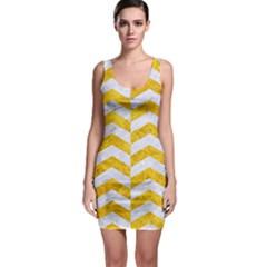 Chevron2 White Marble & Yellow Marble Bodycon Dress