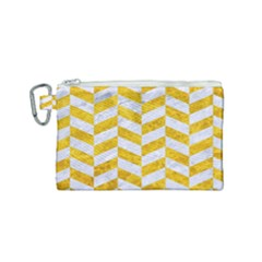 Chevron1 White Marble & Yellow Marble Canvas Cosmetic Bag (small) by trendistuff