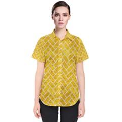 Brick2 White Marble & Yellow Marble Women s Short Sleeve Shirt