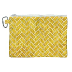 Brick2 White Marble & Yellow Marble Canvas Cosmetic Bag (xl) by trendistuff