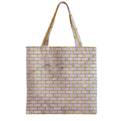 Brick1 White Marble & Yellow Marble (r) Zipper Grocery Tote Bag by trendistuff