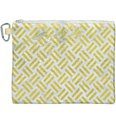 Woven2 White Marble & Yellow Leather (r) Canvas Cosmetic Bag (xxxl)