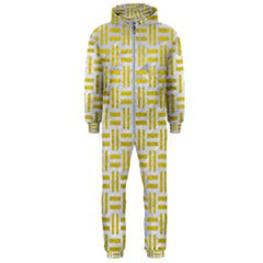 Woven1 White Marble & Yellow Leather (r) Hooded Jumpsuit (men)