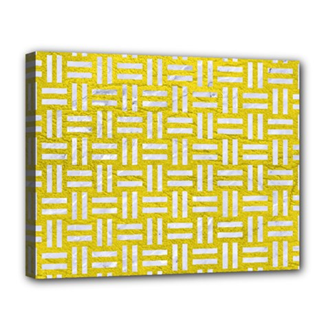 Woven1 White Marble & Yellow Leather Canvas 14  X 11  by trendistuff