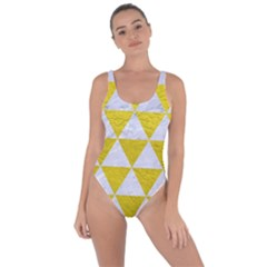 Triangle3 White Marble & Yellow Leather Bring Sexy Back Swimsuit