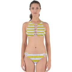 Stripes2white Marble & Yellow Leather Perfectly Cut Out Bikini Set