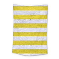 Stripes2white Marble & Yellow Leather Small Tapestry by trendistuff