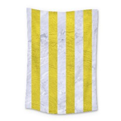 Stripes1 White Marble & Yellow Leather Small Tapestry by trendistuff