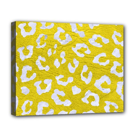 Skin5 White Marble & Yellow Leather (r) Deluxe Canvas 20  X 16   by trendistuff