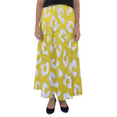 Skin5 White Marble & Yellow Leather (r) Flared Maxi Skirt by trendistuff