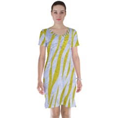 Skin3 White Marble & Yellow Leather (r)skin3 White Marble & Yellow Leather (r) Short Sleeve Nightdress