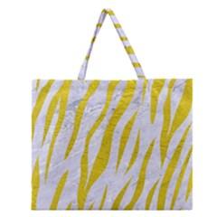 Skin3 White Marble & Yellow Leather (r)skin3 White Marble & Yellow Leather (r) Zipper Large Tote Bag by trendistuff