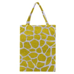 Skin1 White Marble & Yellow Leather (r) Classic Tote Bag by trendistuff