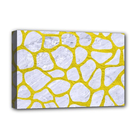 Skin1 White Marble & Yellow Leather Deluxe Canvas 18  X 12   by trendistuff