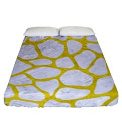 Skin1 White Marble & Yellow Leather Fitted Sheet (queen Size) by trendistuff