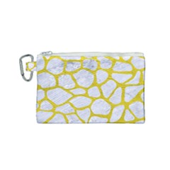 Skin1 White Marble & Yellow Leather Canvas Cosmetic Bag (small)
