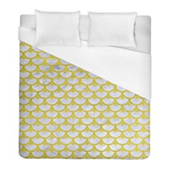 Scales3 White Marble & Yellow Leather (r) Duvet Cover (full/ Double Size) by trendistuff