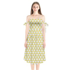 Scales3 White Marble & Yellow Leather (r) Shoulder Tie Bardot Midi Dress