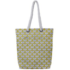 Scales3 White Marble & Yellow Leather (r) Full Print Rope Handle Tote (small) by trendistuff