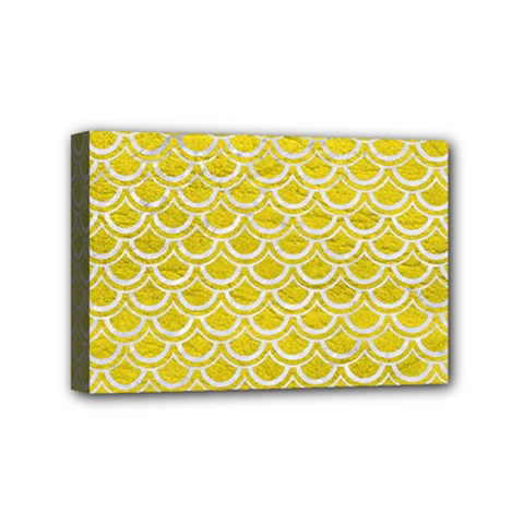 Scales2 White Marble & Yellow Leather Mini Canvas 6  X 4