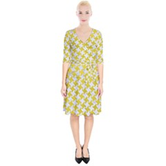 Houndstooth2 White Marble & Yellow Leather Wrap Up Cocktail Dress