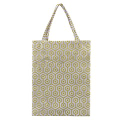 Hexagon1 White Marble & Yellow Leather (r) Classic Tote Bag by trendistuff