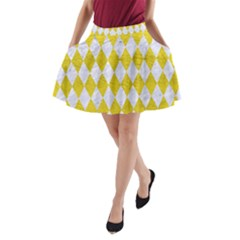 Diamond1 White Marble & Yellow Leather A Line Pocket Skirt by trendistuff