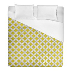 Circles3 White Marble & Yellow Leather Duvet Cover (full/ Double Size) by trendistuff