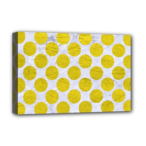 Circles2 White Marble & Yellow Leather (r) Deluxe Canvas 18  X 12   by trendistuff