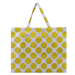 Circles2 White Marble & Yellow Leather (r) Zipper Large Tote Bag by trendistuff