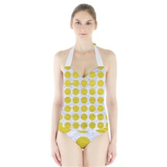 Circles1 White Marble & Yellow Leather (r) Halter Swimsuit