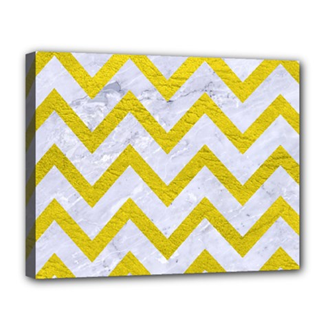 Chevron9 White Marble & Yellow Leather (r) Canvas 14  X 11  by trendistuff