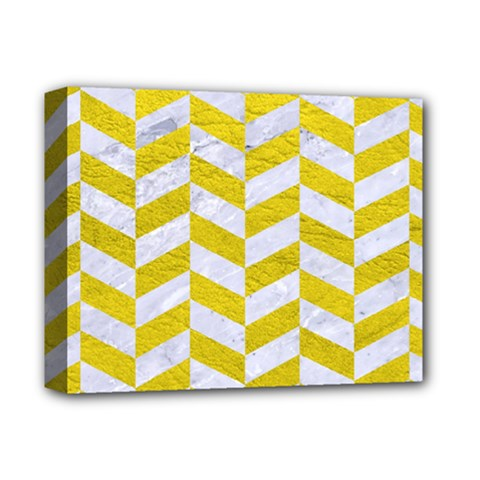 Chevron1 White Marble & Yellow Leather Deluxe Canvas 14  X 11  by trendistuff