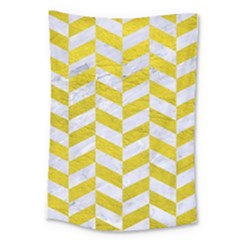 Chevron1 White Marble & Yellow Leather Large Tapestry