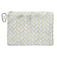 Brick2 White Marble & Yellow Leather (r) Canvas Cosmetic Bag (xl) by trendistuff