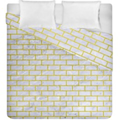 Brick1 White Marble & Yellow Leather (r) Duvet Cover Double Side (king Size) by trendistuff