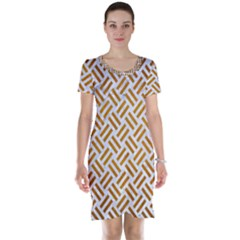 Woven2 White Marble & Yellow Grunge (r) Short Sleeve Nightdress