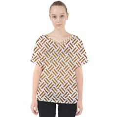Woven2 White Marble & Yellow Grunge (r) V Neck Dolman Drape Top
