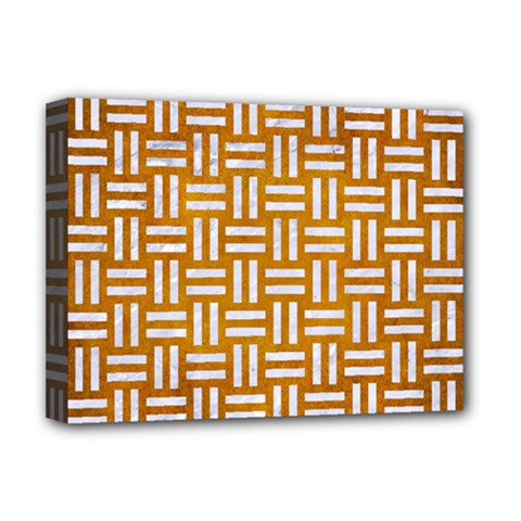 Woven1 White Marble & Yellow Grunge Deluxe Canvas 16  X 12   by trendistuff