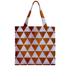 Triangle3 White Marble & Yellow Grunge Zipper Grocery Tote Bag