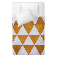 Triangle3 White Marble & Yellow Grunge Duvet Cover Double Side (single Size) by trendistuff
